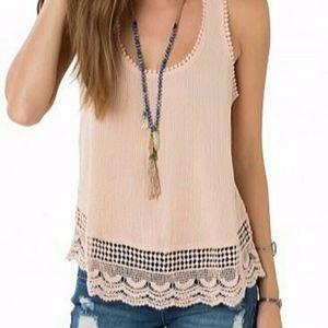 Dark Tan Detailed Tank Top